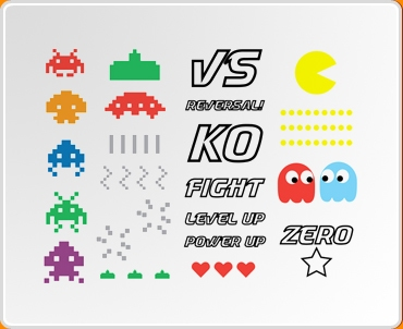 8 Bit Retro Colour Set Wall Sticker