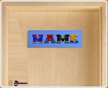Blue Superhero Name Bedroom Door Sign