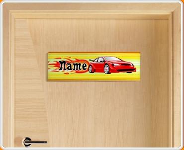Car Personalised Name Children's Bedroom Door Sign