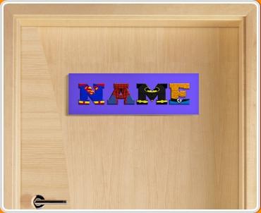 Dark Blue Superhero Name Bedroom Door Sign