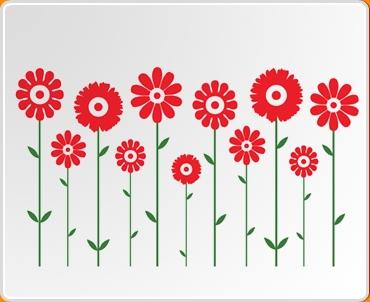 Dual Symmetrical Flowers Wall Sticker