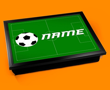 football childrens name cushion lap tray