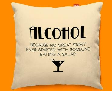 Alcohol Typography Funky Sofa Cushion