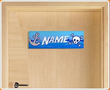 Pirate Personalised Name Children's Bedroom Door Sign
