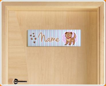 Puppy Personalised Name Children's Bedroom Door Sign