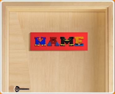 Red Superhero Name Bedroom Door Sign