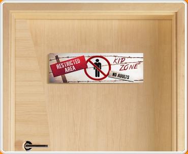 Restricted Area Children's Bedroom Door Sign