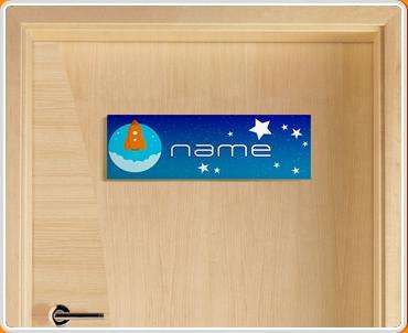 Space Rocket Personalised Name Children's Bedroom Door Sign