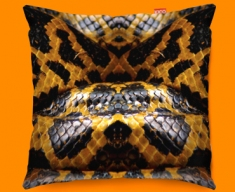Animal Skin Yellow Snake Funky Sofa Cushion 45x45cm