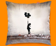 Banksy Balloons Funky Sofa Cushion 45x45cm
