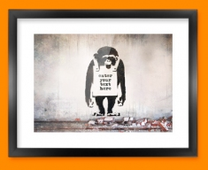 Banksy Chimp Custom Framed Print