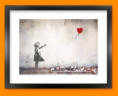 Banksy Heart Balloon Framed Print