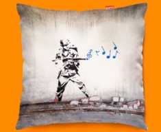 Banksy Soldier Funky Sofa Cushion 45x45cm