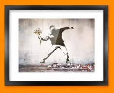 Banksy Thug Flowers Framed Print