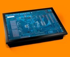 Blue Circuitboard Cushion Lap Tray