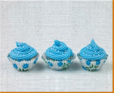 Blue Cup Cakes Canvas Art Print