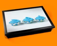 Blue Cup Cakes Cushion Lap Tray