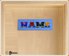 Blue Superhero Name Bedroom Door Sign