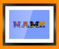 Blue Superhero Personalised Childrens Name Framed Print