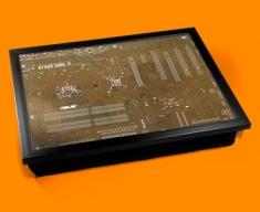 Brown Circuitboard Cushion Lap Tray