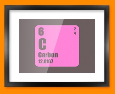 Carbon Periodic Element Framed Print