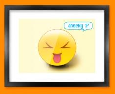 Cheeky Emoticon Framed Print