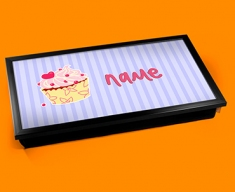 Cupcake Personalised Childrens Name Cushioned Laptop Lap Tray