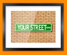 Custom US Street Sign Framed Print