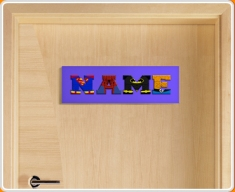 Dark Blue Superhero Name Bedroom Door Sign