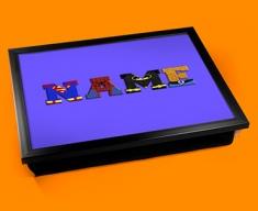 Dark Blue Superhero Personalised Childrens Name Cushion Lap Tray