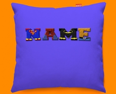 Dark Blue Superhero Personalised Childrens Name Sofa Cushion
