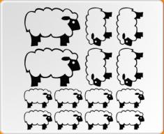 Filled Sheep Set Wall Sticker