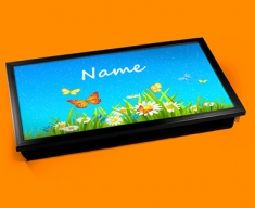 Flowers Personalised Childrens Name Cushioned Laptop Lap Tray