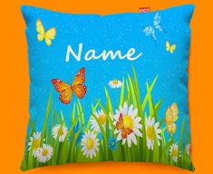 Flowers Personalised Childrens Name Sofa Cushion