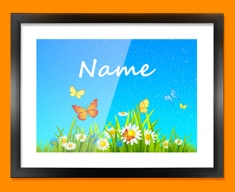 Flowers Personalised Childrens Name Framed Print
