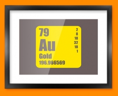 Gold Periodic Element Framed Print