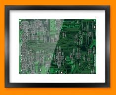 Green Circuitboard Framed Print