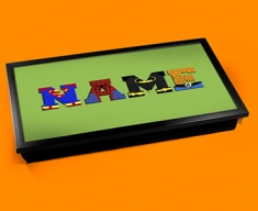 Green Superhero Personalised Childrens Name Cushioned Laptop Lap Tray