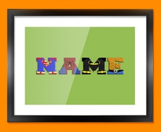 Green Superhero Personalised Childrens Name Framed Print