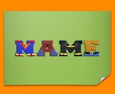 Green Superhero Personalised Childrens Name Poster