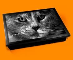 Grey Cat Cushion Lap Tray