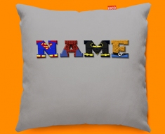 Grey Superhero Personalised Childrens Name Sofa Cushion