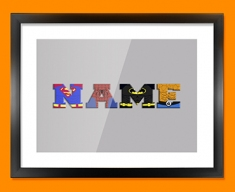 Grey Superhero Personalised Childrens Name Framed Print