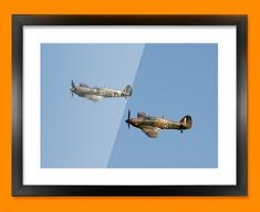Hurricane Hawker and Spitfire Supermarine Plane Framed Print
