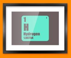 Hydrogen Periodic Element Framed Print