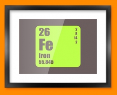 Iron Periodic Element Framed Print