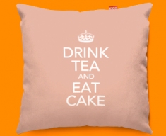 Keep Calm Drink Tea and Eat Cake Funky Sofa Cushion 45x45cm