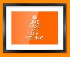 Keep Calm Live Fast Framed Print