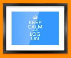 Keep Calm Log On Framed Print