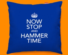 Keep Calm Now Stop and Hammer Time Funky Sofa Cushion 45x45cm
